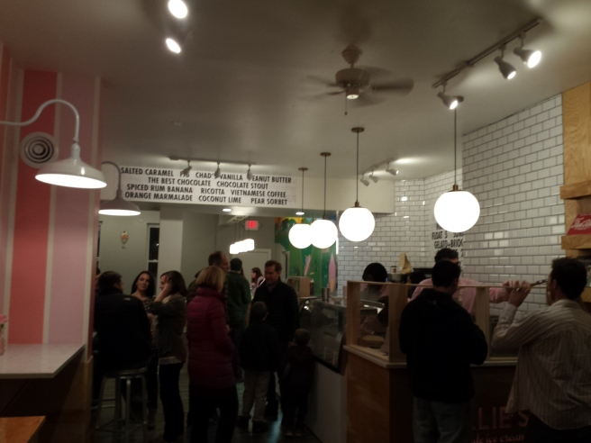 Interior of Millie's Homemade Ice Cream Shop