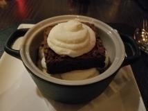 Hot Fudge Brownie Sundae - fudge brownie, raspberry coulis